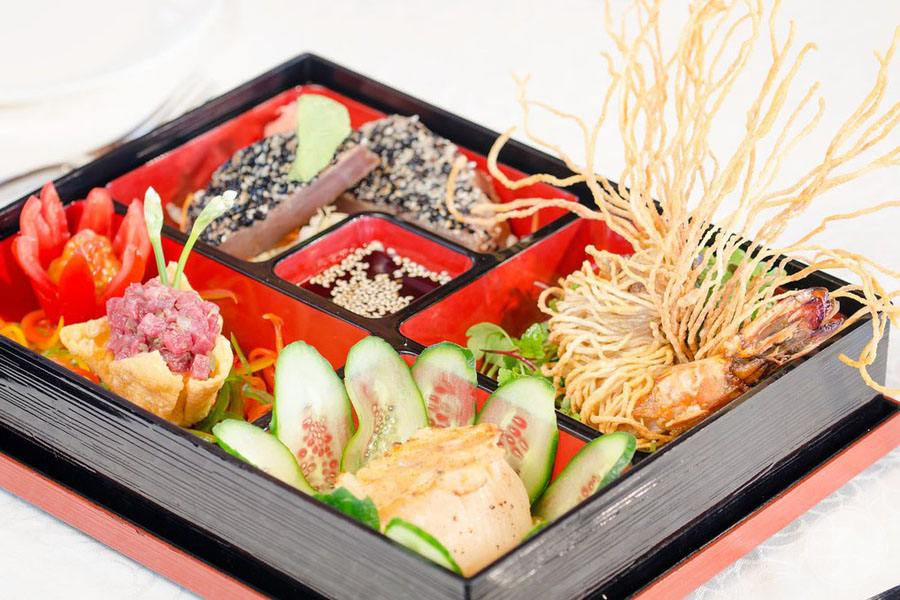 Resort lunch box with asian theme food