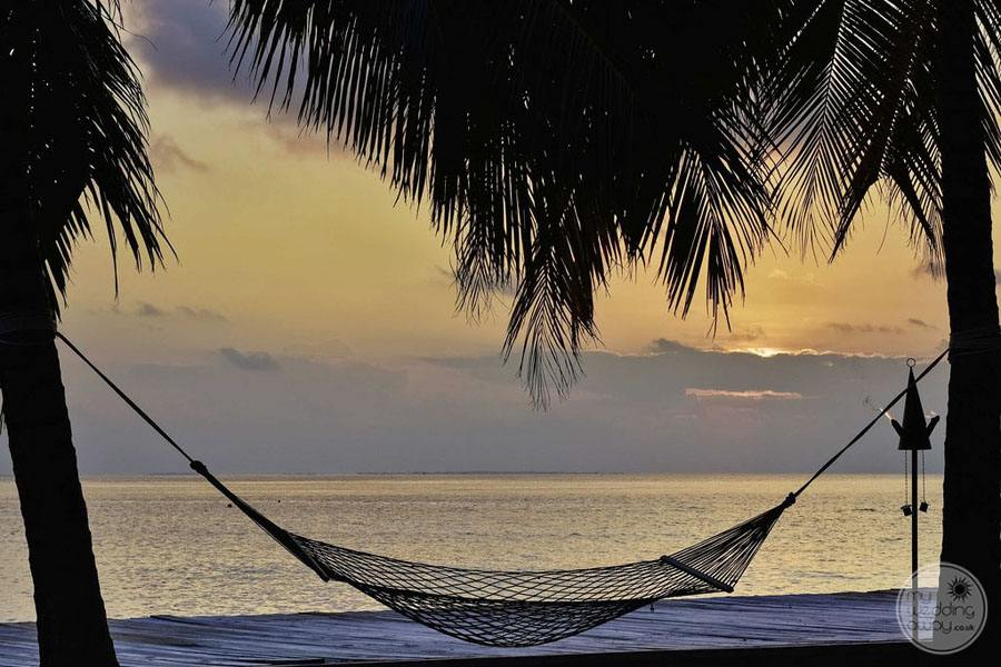 Beach Hammock in the evening at sunset