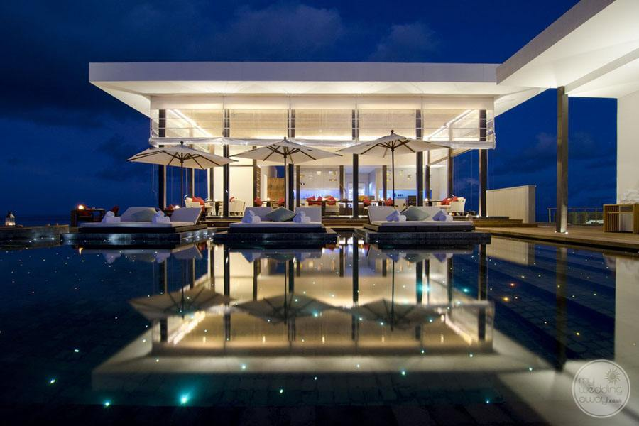 Evening View of Restaurant and infinity pool