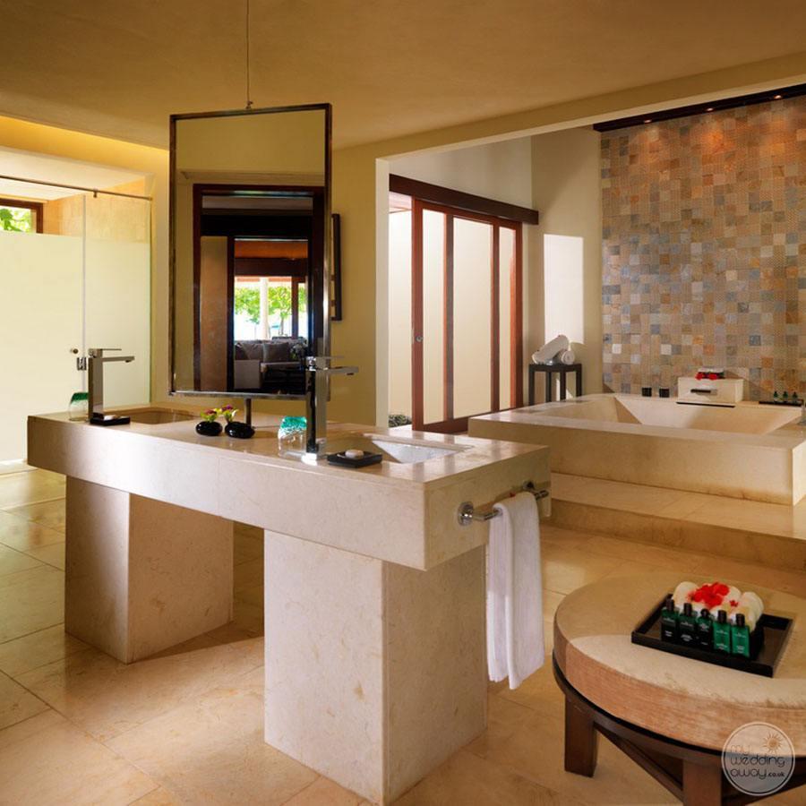Raffles Maldives Meradoo Marble Bathroom