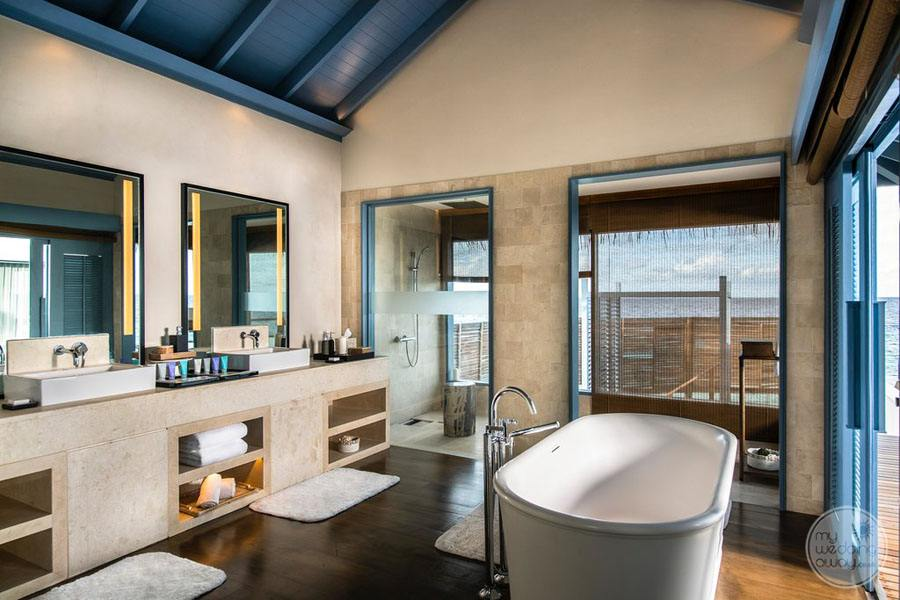 Overwater Villa Bathroom with deep soaker tub