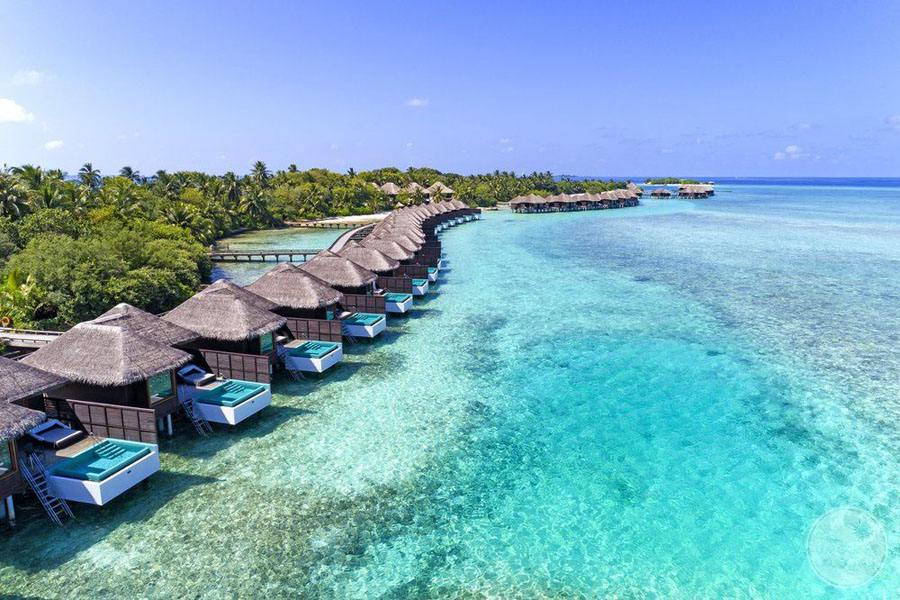 Sheraton Maldives Full Moon Resort and Spa Ariel View of Bungalows