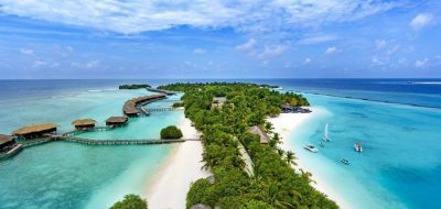 Sheraton Maldives Full Moon Resort and Spa Ariel View of Resort