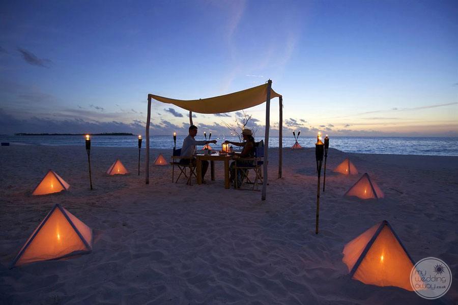 Six Senses Laamu Beach at Night