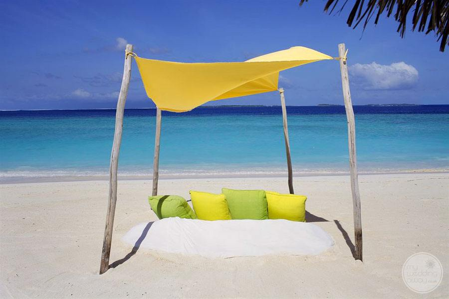 Colourful Beach Palapal with seat cushions