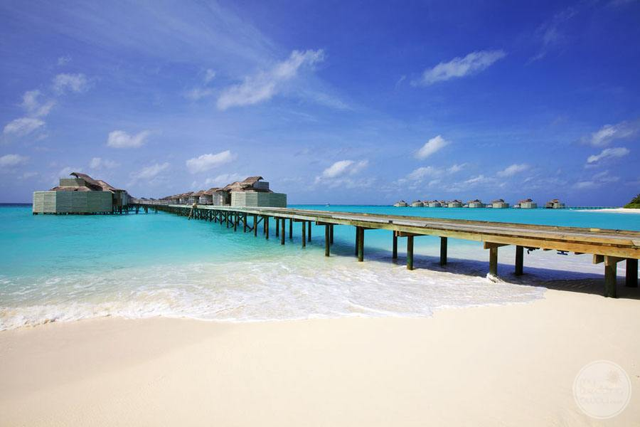 Beachfront with peer that takes you to the overwater bungalows