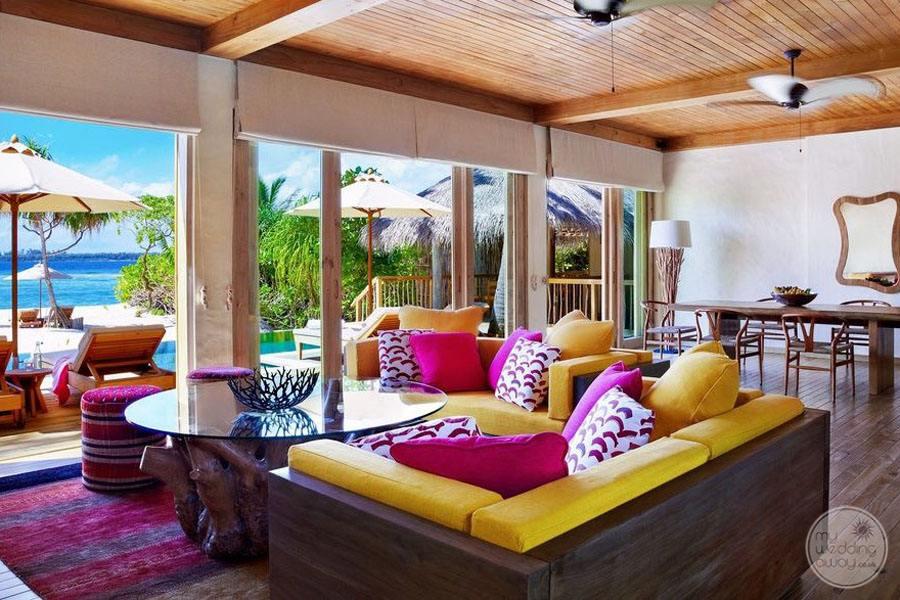 Six Senses Laamu Lounge Area by Pool