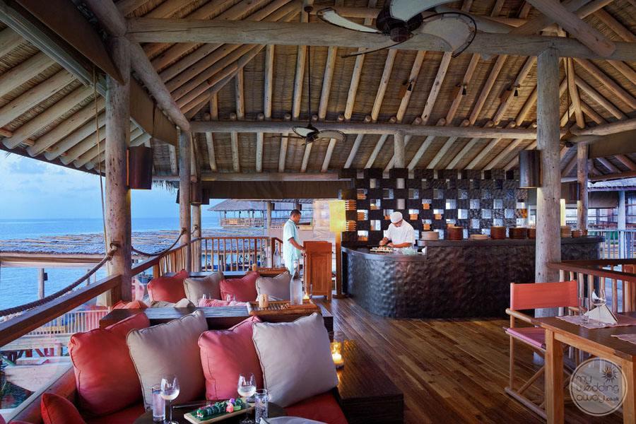 Six Senses Laamu Restaurant Overlooking Sea