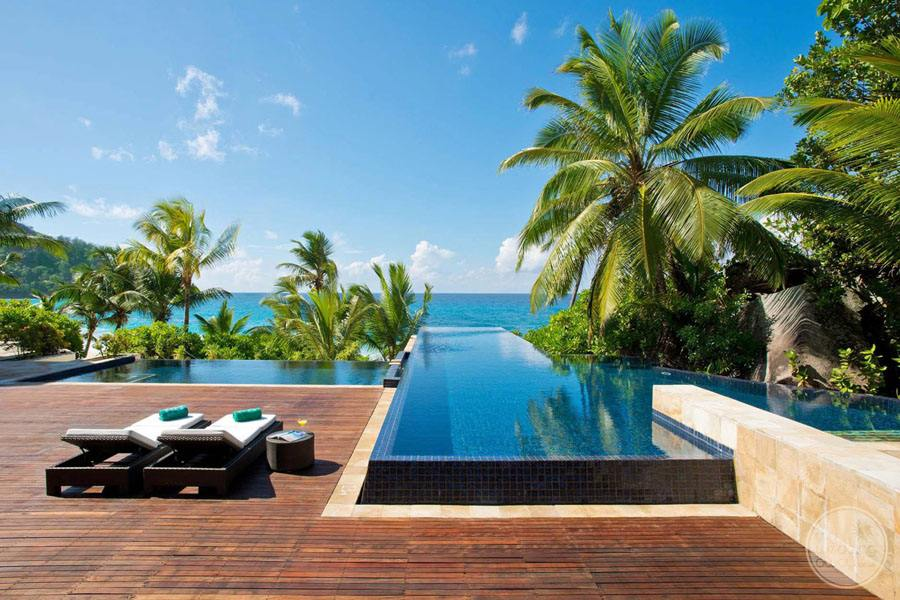 Infinity Pool with surrounding palm trees