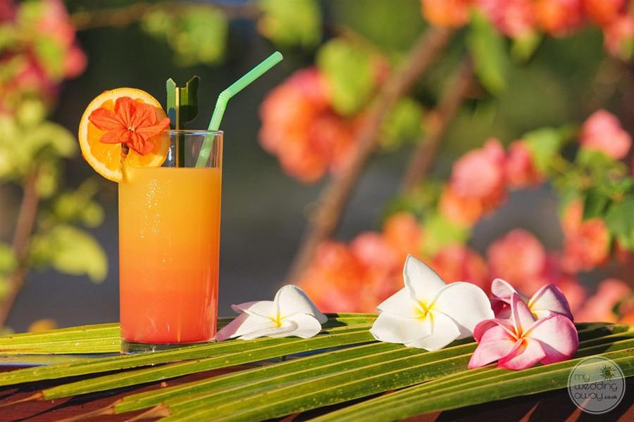 Tropical Drinks served with orange round and flowers