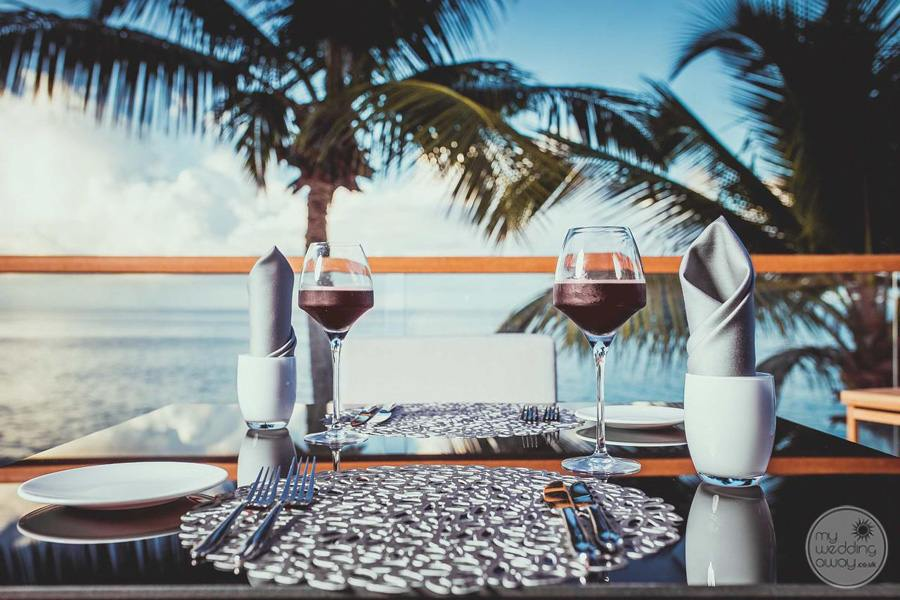 Beachfront Dining with chilled resort wine