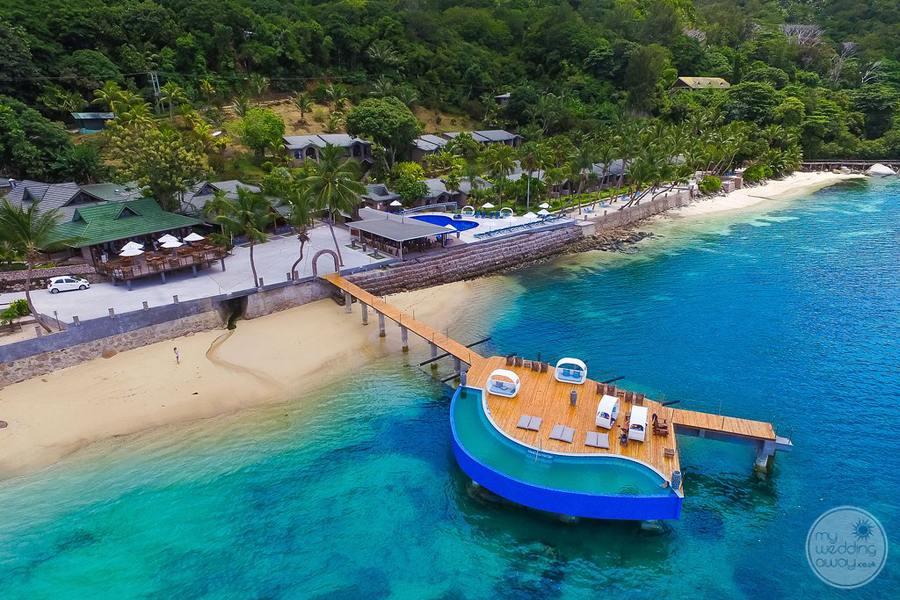 Coco de Mer Hotel Aerial View of Beach