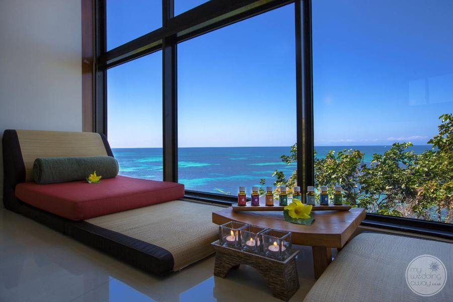 Lounge area located in the spa with large view of the ocean