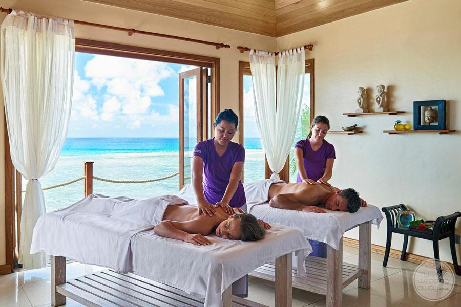 Couples massage room with ocean view