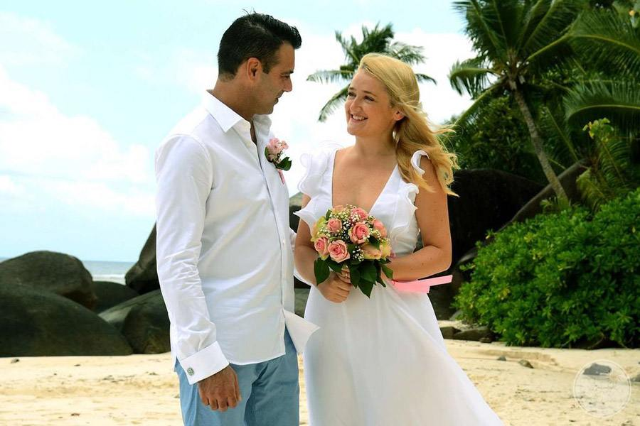 Hilton Seychelles Labriz Resort and Spa wedding couple