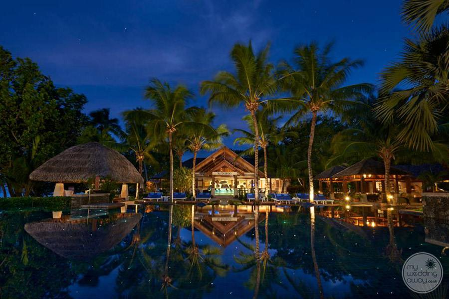 Hilton Seychelles Labriz Resort and Spa Pool at Night