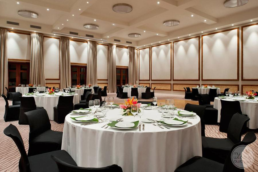 wedding reception ballroom with floral decor