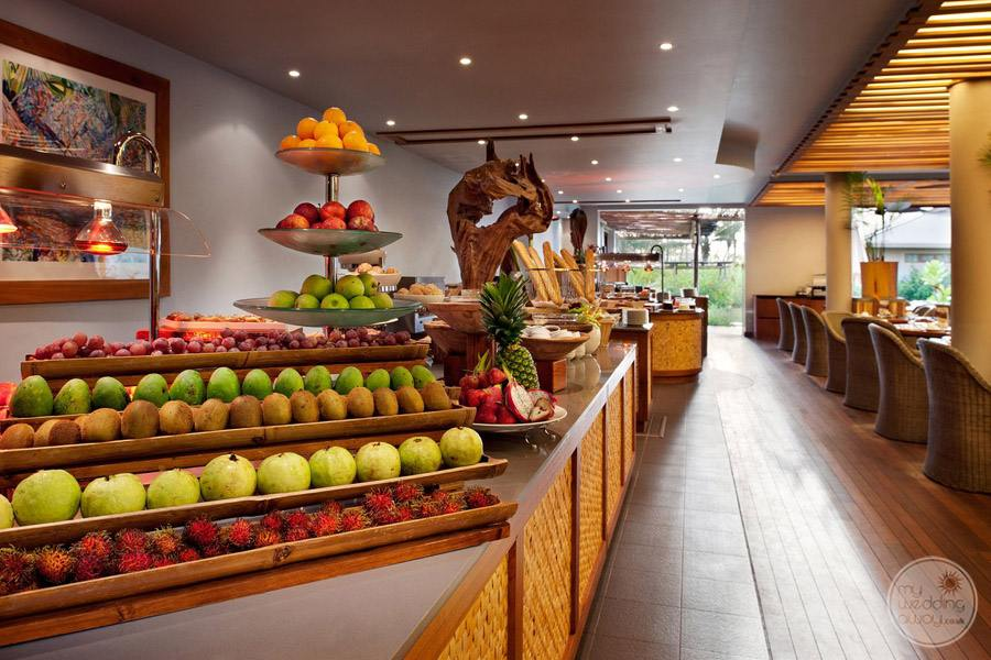 resort breakfast buffet with large fruit selection