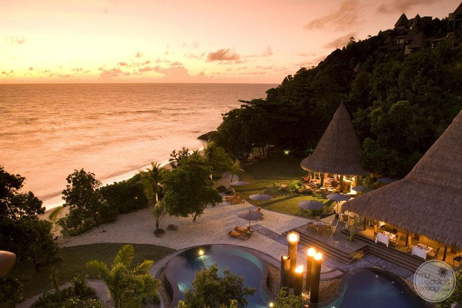 arial resort view sunset