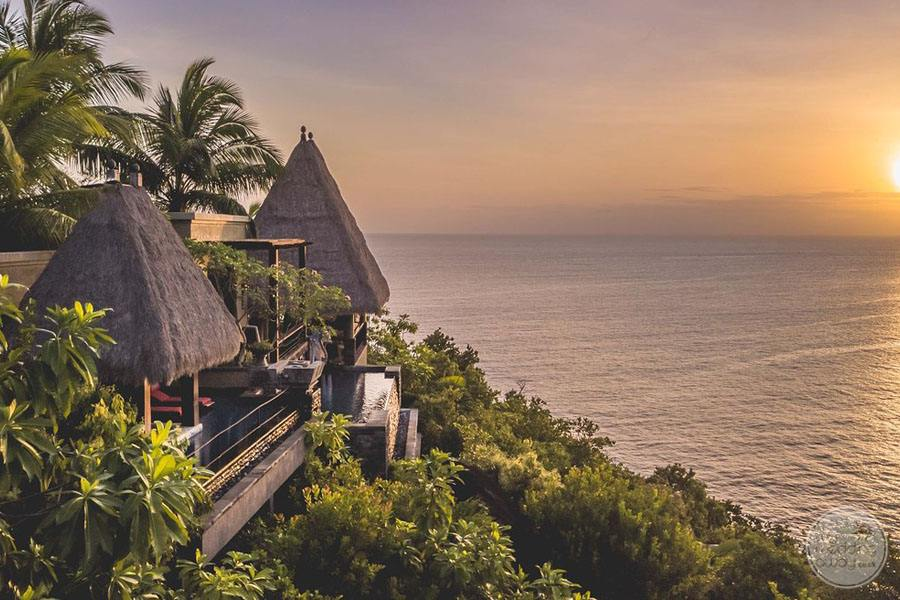 Maia Luxury Resort and Spa exterior view at sunset