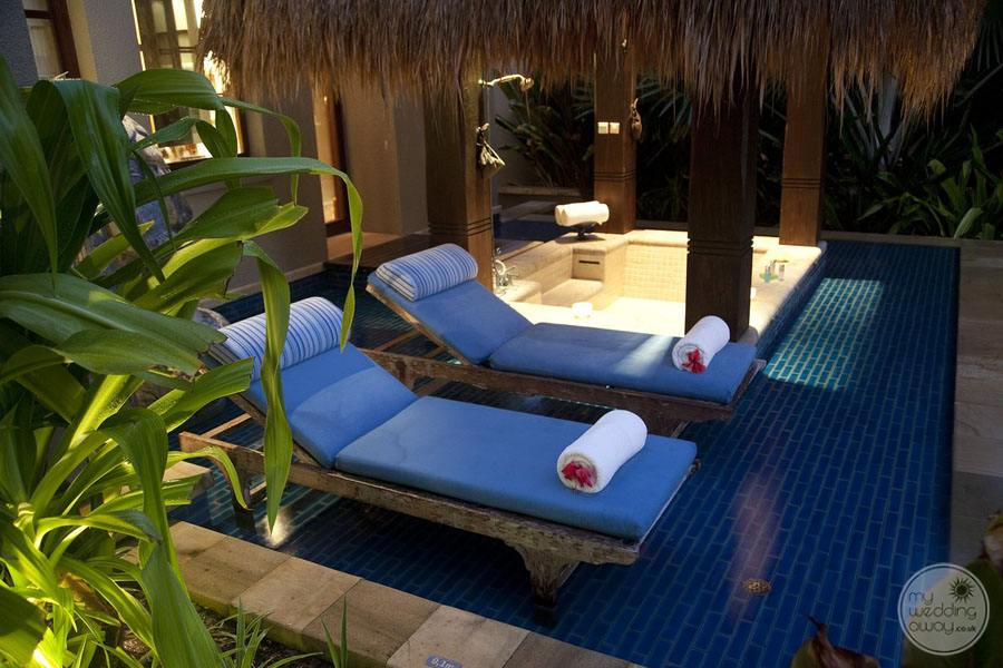 Maia Luxury Resort and Spa guest room pool loungers