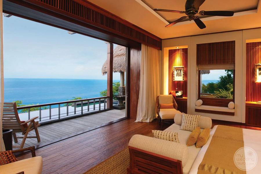 guest room view with outdoor ocean view area