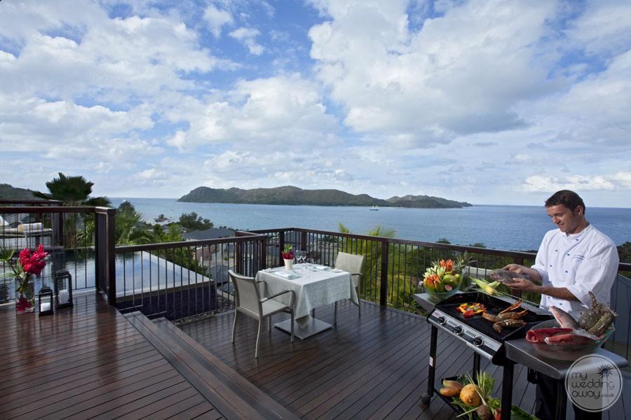 Resort outdoor BBQ with ocean view