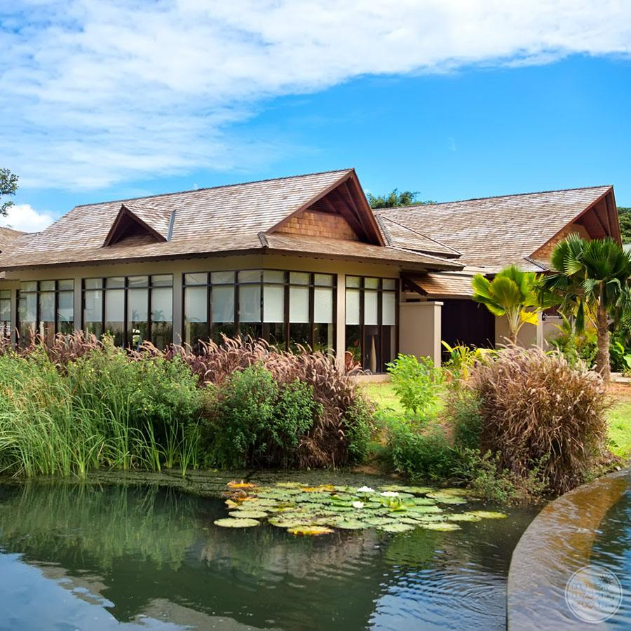 exterior view of restaurant with outdoor lilypond