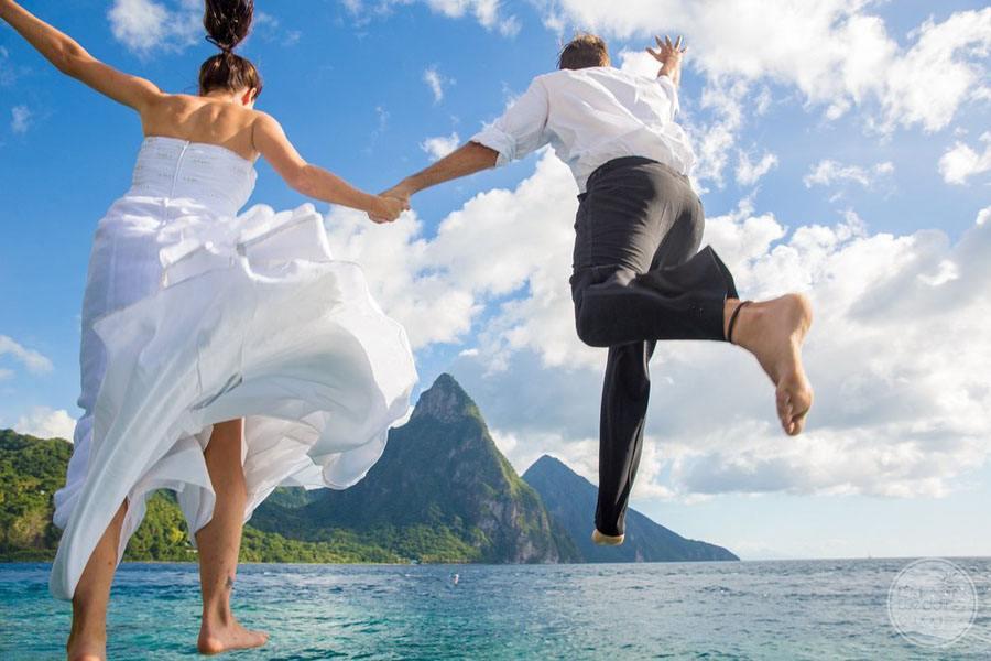 Anse Chastenet Wedding couple at Beach