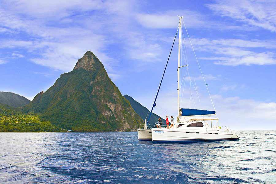 Sailing around the Pitons