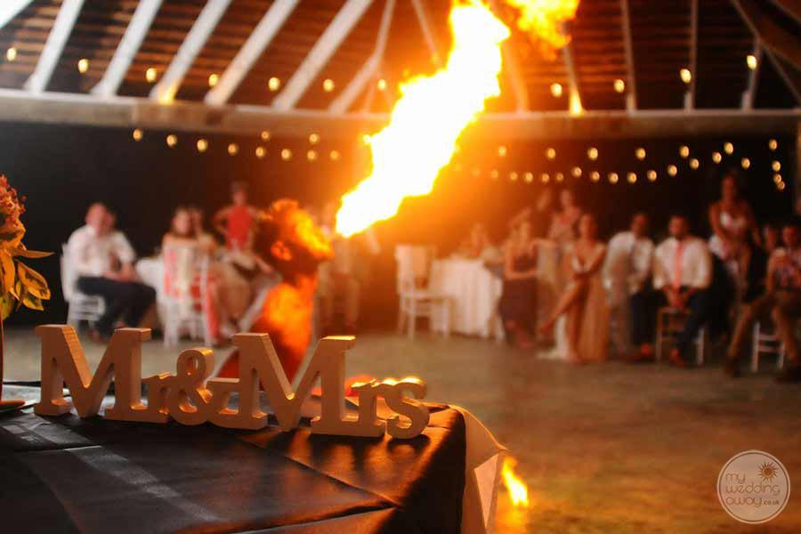 Wedding Reception with fire dancers