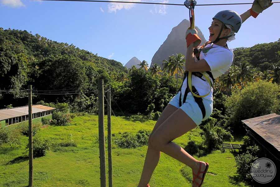 Ziplining activities around the property