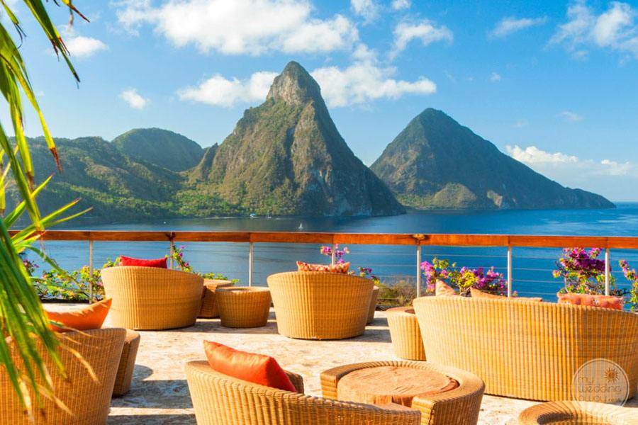 Main Deck area with view of the Pitons and ocean