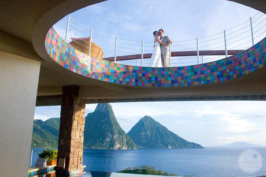 Jade Mountain Wedding Photo on Upper Deck
