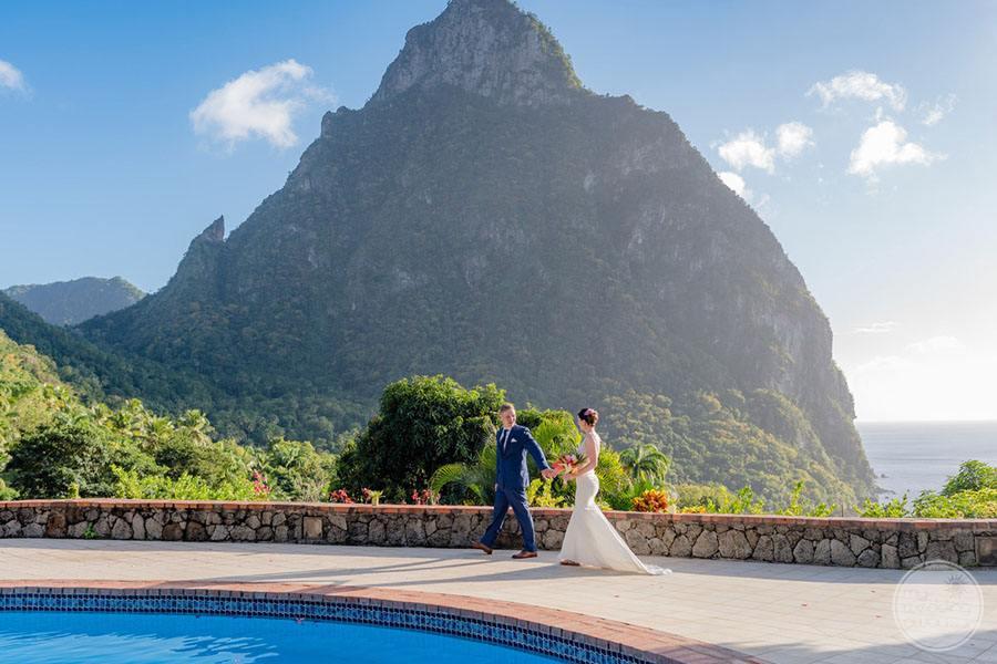 Wedding Couple on Pool Deck