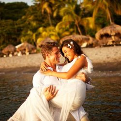 Wedding Couple on the beach in St Lucia
