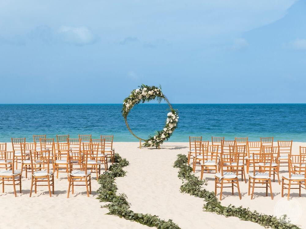 Excellence-Playa-Mujeres-beach-wedding-ceremony-set-up