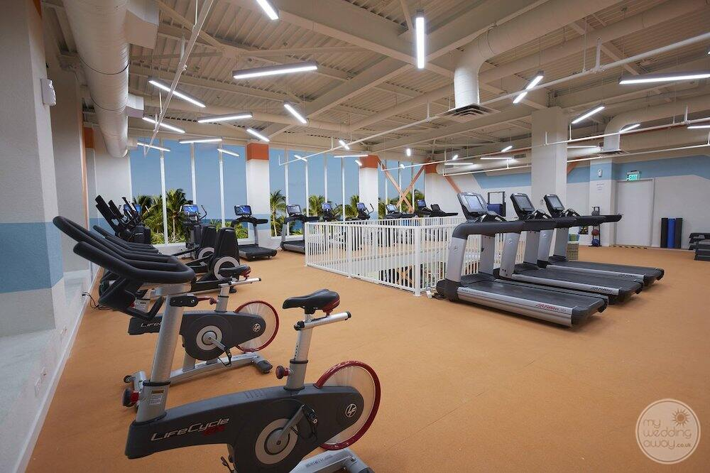 resort fitness centre with treadmills weights and bike machines