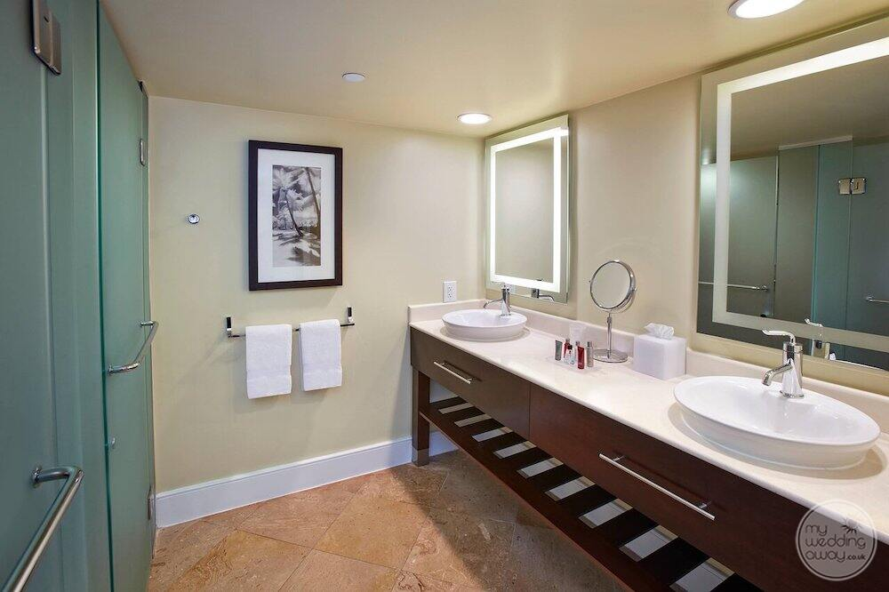 main guest bathroom with double sinks