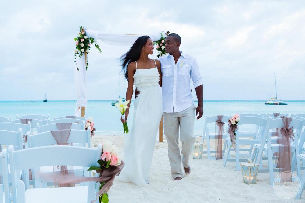 Wedding-couple-on-beach-after-ceremony-Aruba-Island-Country