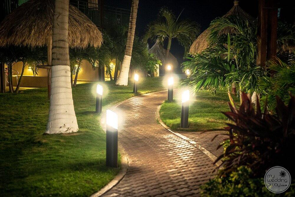 Walkway to the beach at night with lights and palm trees