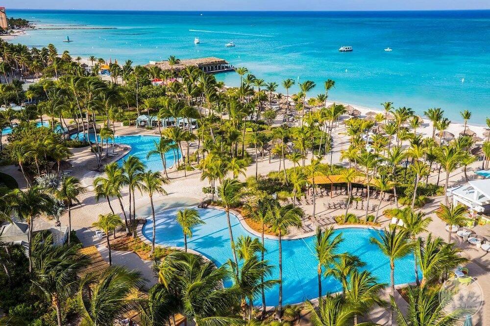 aerial view of the resort pools Beach and ocean