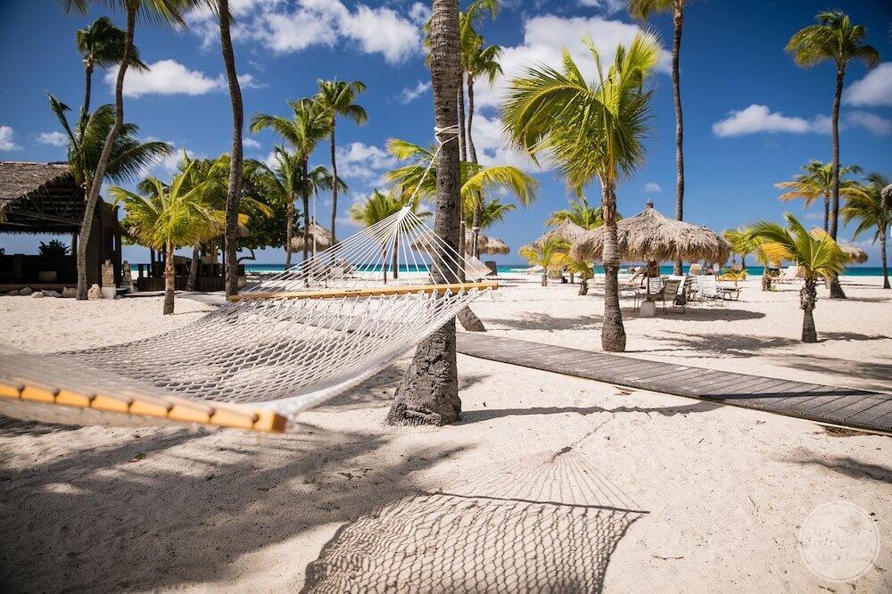 Relaxing hammocks on the beach by the wood walkway