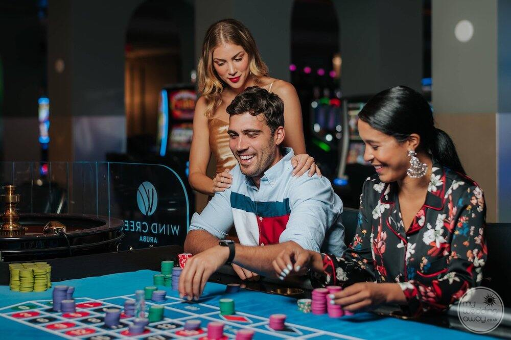 Casino area with gas is playing roulette