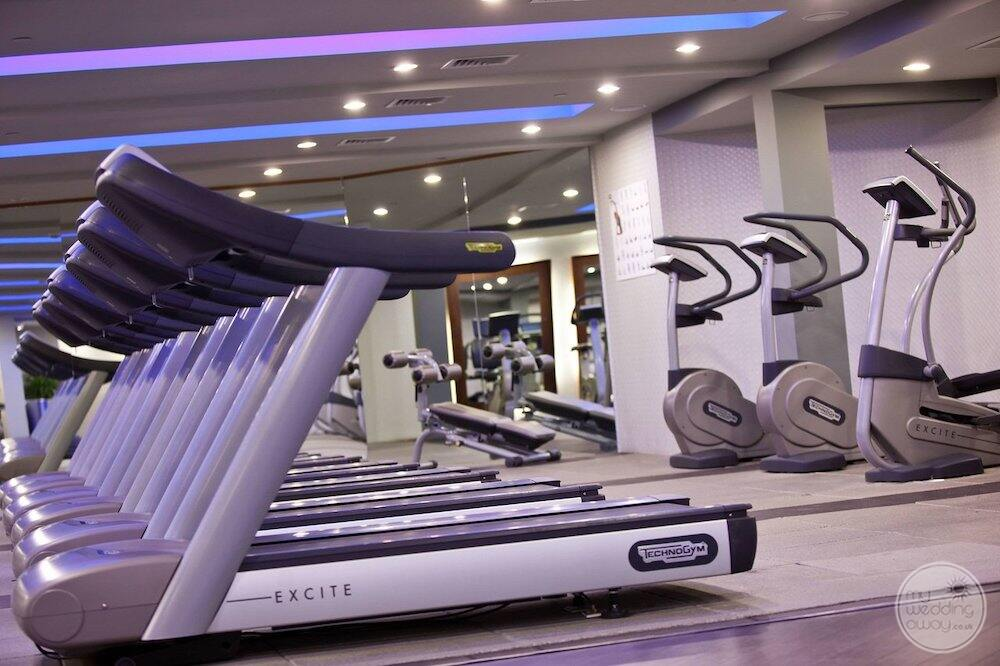 resort fitness centre with the running treadmills and weights