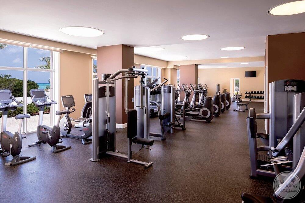Fitness centre with weights and rowing machines and bicycles