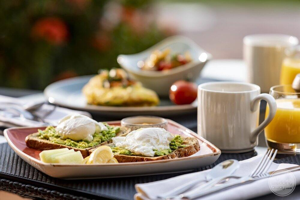 Display of breakfast with egg whites and avocado and coffee and orange juice