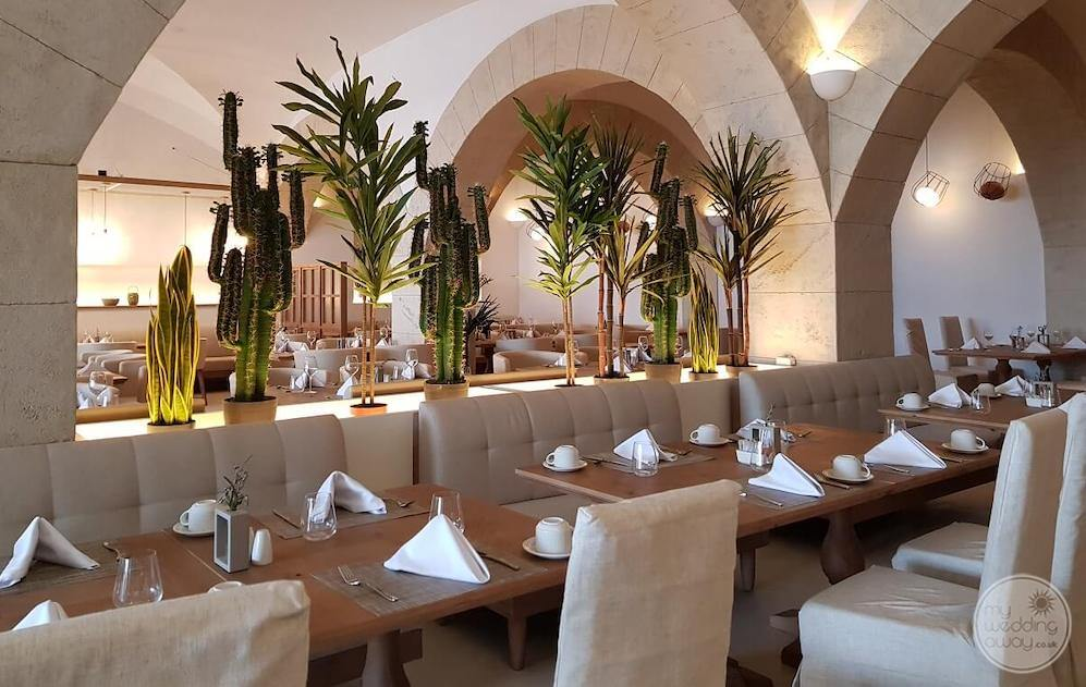 Restaurant with cactus decorations and beige couch chairs