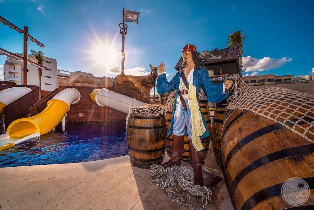 Children's waterpark with pool is a pirate and a small ship