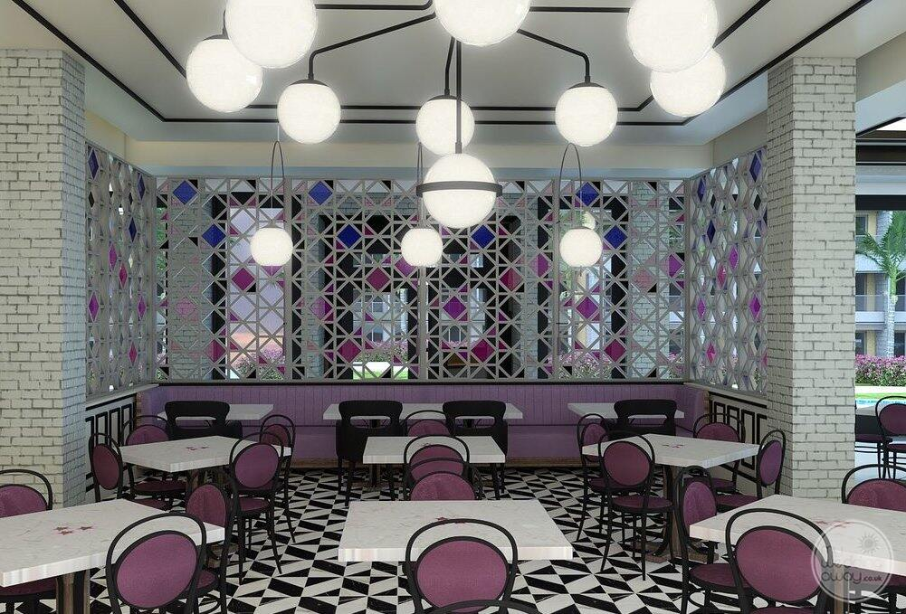 Restaurant with mould and purple Decor White ball lights and outdoor seating